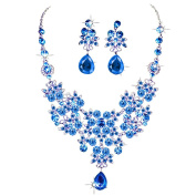Costume Silver and Blue Diamante Filligree Design Necklace and Earring Set