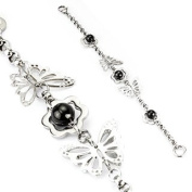 Butterfly Women's Silver Stainless Steel Bracelet with Black Bead Floral Design Men's Stainless Steel Bracelet Bracelet Surgical Steel)