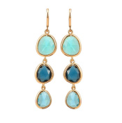 SunIfSnow Girls Exquisite Three Vertical Drop Charms Colourful Crystal Stone Linked Dangle Earrings