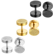 Aroncent 3 Pairs 8mm Stud Earrings Steel Cheater Fake Ear Plugs Gauges Illusion Tunnel for Men and Women - Black Gold Silver