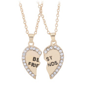 Butterme Set of 2 Girl's Split Valentine Heart Rhinestone Best Friends Engraved Pendant Friendship Necklace