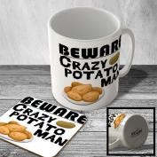 MAC_CZY_116 BEWARE - Crazy Potato Man - Mug and Coaster set