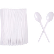 100 x Disposable White Plastic Party BBQ Spoons