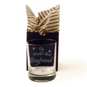 "Boyfriend, ""The World's Best Boyfriend"" Whisky Glass, Tumbler, Engraved, Presented in a Gift Box with Co-ordinating Tissue as shown. Boyfriend Gift, Boyfriend Present, Boyfriend Birthday"