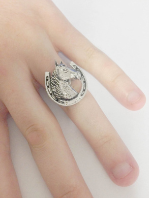 A62 Horseshoe English Pewter Ladies Ring, Adjustable Handmade in Sheffield