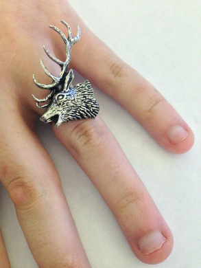 A53 Red Stag Head English Pewter Ladies Ring, Adjustable Handmade in Sheffield