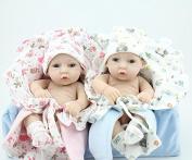 KAYDORA 25cm Lifelike Full Body Silicone Reborn Baby Twins Dolls