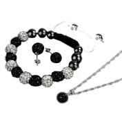 Koly® Women's Crystal Ball Shamballa Bracelets Earrings Set Necklace Jewellery Gift