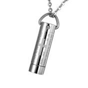 Cremation Jewellery Stainless Steel Cross Bible Cylinder Urn Pendant Memorial Ash Keepsake Necklace