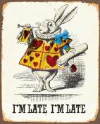 Alice In Wonderland Rabbit i'm late METAL Wall Sign 15cm x 20cm Plaque Vintage Retro poster art picture print