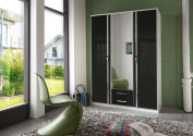 White and Black & White High Gloss Door German Made Wardrobe in 2 3 and 4 Doors with mirror doors Pre-informed and booked with TWO MAN delivery service (Black-White, 3 Doors