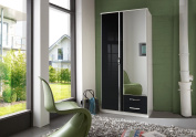 White and Black & White High Gloss Door German Made Wardrobe in 2 3 and 4 Doors with mirror doors Pre-informed and booked with TWO MAN delivery service (Black-White, 2 Doors