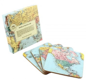 World Traveller Map Coaster Set - Travel the world via your drinks coaster!