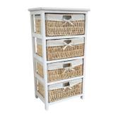Home Vida Maize 4-Drawer Bathroom/Bedroom Storage Unit, Wood, White