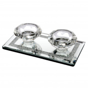 Diamond Shape Twin Tealight Candle Holder Glass Mirrored Diamante Ornament Gift