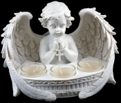 Large Praying Cherub Ornament With 3 Tea Light Candle Holders