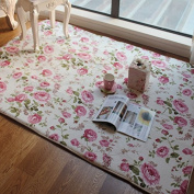 FADFAY Home Textile,Romantic American Country Style Floral Room Floor Mats,Sweet Rose Print Carpets For Living Room Modern,Designer Shabby Style Flower Rug Decorative
