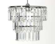 """Ideal Textiles - Chandelier Style Chrome Frame Acrylic Crystal Effect Jewels Clear Ceiling Light Pendant Shade, 26cm x 23cm, 10"""" x 9"""""""