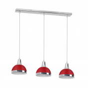 Premier Housewares 3-Light Chrome Ceiling Pendant - Red