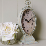 Oval Mantel Clock French Style Shabby chic duck egg and cream