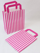 10 Pink Candy Stripe Paper Party Gift Bags 18cm x 21cm plus Handle