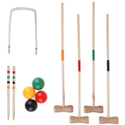 Wooden Croquet Set Family/Kids/Childrens 4 Player Complete Game Traditional Bright Colour Coded 4 Hard Wood Mallets & Balls, 6 Hoops, 2 Pegs Outdoor Garden Lawn Toy in Mesh Drawstring Toggle Bag