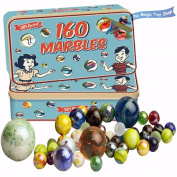 160 Traditional Assorted Colourful Classic Retro Glass Marbles In a Tin Kids Game