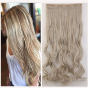 One Piece Clip in Hair Extensions 60cm curly half full head mixed colours hair piece ash blonde mix silver grey