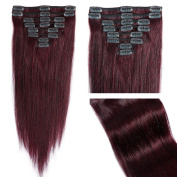 My Lady 50cm Thick Double Weft 8 Pcs 18 clips in Remy Human Hair Extensions Wine Red