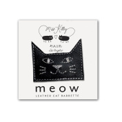 MEOW! Leather Kitty Barrette - Small - Black