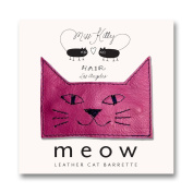 MEOW! Leather Kitty Barrette - Large - Pink