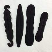 Akak Store 4 Pcs/Lot Black Colour Magic Beauty Hair Hairstyle Foam Sponge Donut Twister Hair Disc Ponytail Bun Maker Woman Hair Tools