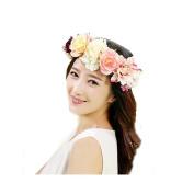 Handmade Flower Wreath Headband Crown Floral Garland Boho for Festival Wedding
