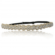 Bridal Wedding Crystal Pearl Thin Rhinestone Diamond Headband with Seedbead Trim Adjustable Non-slip Comfortable for Wedding