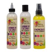 "Alikay Naturals Caribbean Coconut Milk Shampoo + Conditioner + Lemongrass Leave In Conditioner 240ml ""Set"""