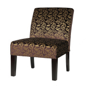 Cortesi Home Castano Armless Velvet Damask Accent Chair, Purple, Brown and Gold