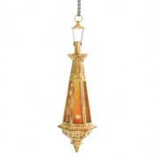 koehler Home Decor Gift Accent Amber Glass Metal Teardrop Candle Lantern