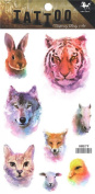 Wonbeauty best and high quality temporary tattoos Different animal heads long lasting and realistic temporary tattoos including rabbit,wolf,tiger,cat,horse,bird,etc.