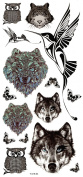 Wonbeauty best and high quality temporary tattoos Wolf heads,owl heads,tiger heads,birds and butterflies long lasting and realistic temporary tattoos