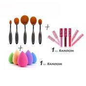Creazy® 5PCS Toothbrush Brushes+1 PC Sponge Puffs+1 PC Lip gloss