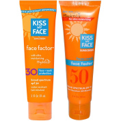 Kiss My Face Sunscreen Face Factor SPF 30 and Kiss My Face Sunscreen Face Factor SPF 50 Bundle With Ultra Moisturising Hydresia for Face and Neck Protection, 2 fl. oz.