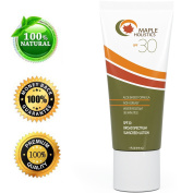 Sunscreen with SPF 30 - UVA/UBV Broad Spectrum - Sweat & Water Resistant - Non Greasy Formula - Antioxidants Infused - Enhanced With Aloe Vera - Fragrance Free - for Women & Men by Maple Holistics
