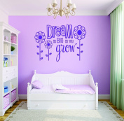 Design with Vinyl RAD 712 2 Dream As Big As You Grow Flower Design Baby Girl Bedroom Wall Decal, Purple, 41cm x 60cm