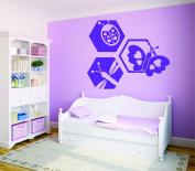 Design with Vinyl RAD 727 1 Ladybug Butterfly Dragonfly Design Baby Girl Teen Bedroom Design Wall Decal, Purple, 30cm x 46cm
