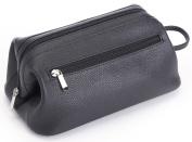ROYCE Toiletry Travel Wash Bag in Pebbled Genuine Leather - Black