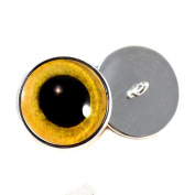 Sew on Eyes 16mm Yellow Owl Glass Eyes Cabochons for Fantasy Art Doll Stuffed Animal Soft Sculptures or Jewellery Making Crafts Set of 2