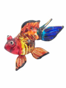 TINY CRYSTAL GOLD FISH HAND BLOWN CLEAR GLASS ART GOLD FISH FIGURINE ANIMALS GLASS BLOWN FBM09