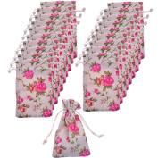 BCP Pack of 20pcs 8.9cm X 15cm Roses Pattern Double Drawstring Linen Bags Burlap Drawstring Bag/ Gift Bag Pouch for Party / Wedding