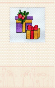 "Postcard cross stitch kit ""Christmas gifts"" for kids and beginners"