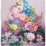 Egoshop silk Ribbon Embroidery kit Europe Flowers In Vase DIY Wall Decor Silk Ribbon Embroidery Kit With English instruction